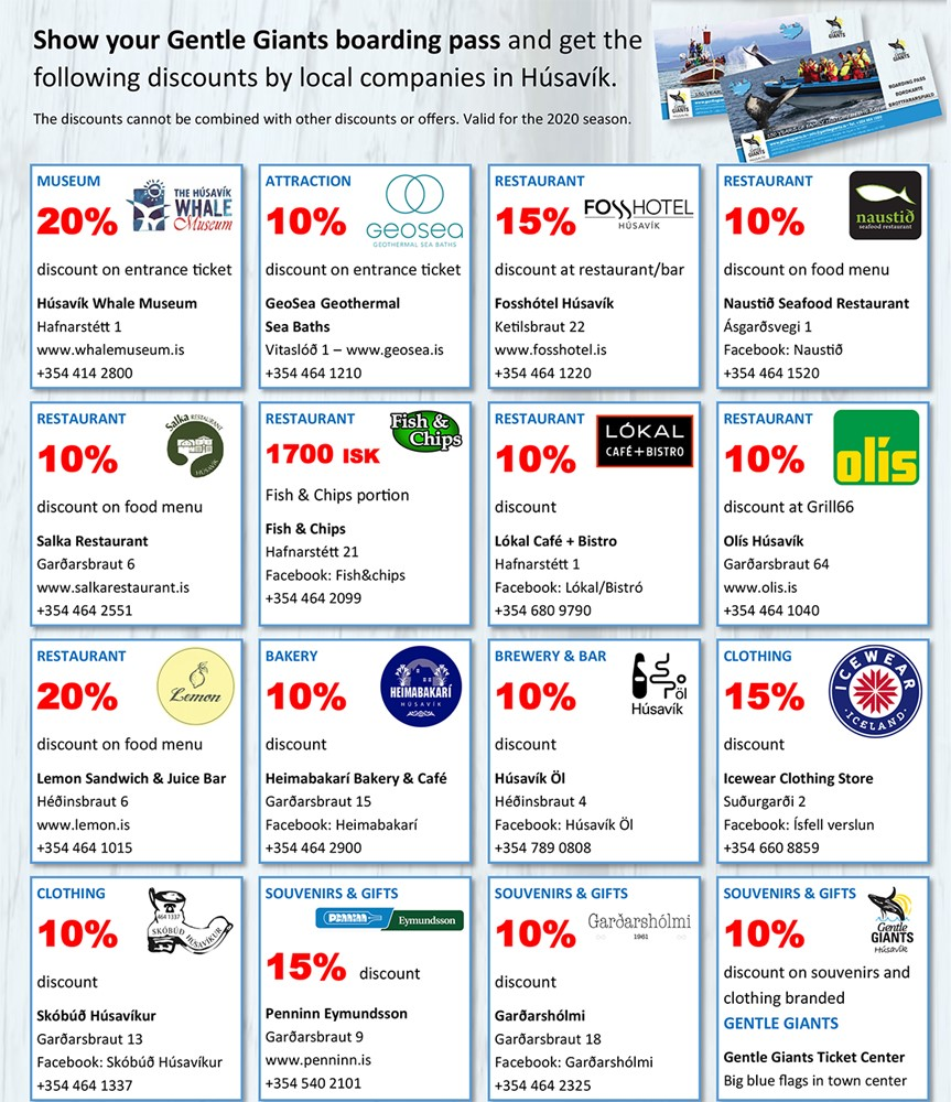 Discounts in Húsavík for our customers